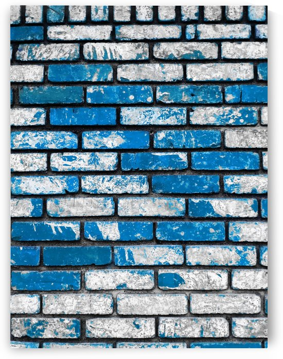 brick wall background in blue and white by TimmyLA