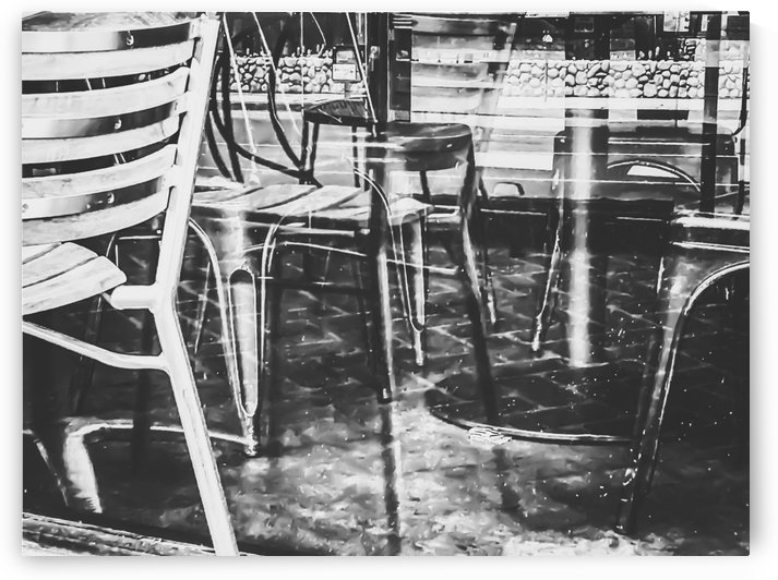 outdoor chairs in the city in black and white by TimmyLA