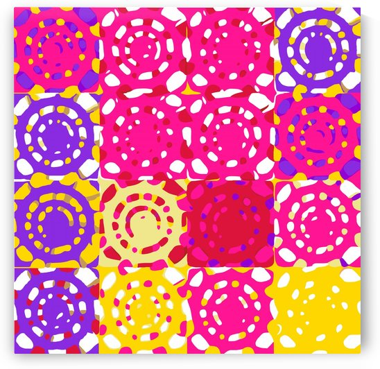 graffiti circle pattern abstract in pink yellow and purple by TimmyLA