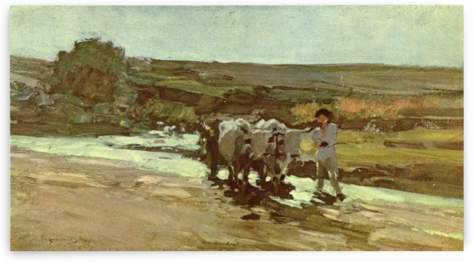 Oxcart and farmer within a large field by Nicolae Grigorescu
