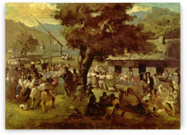 Figures dancing in the center of the town by Nicolae Grigorescu
