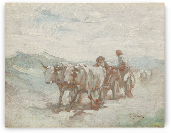 Ox cart returning from fair by Nicolae Grigorescu