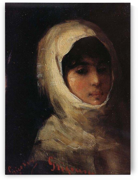 Girl with white veil by Nicolae Grigorescu
