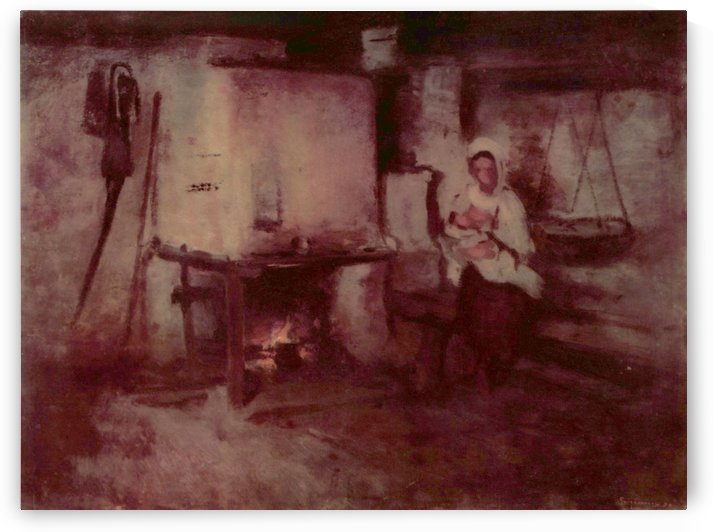Mother and baby near the fire in kitchen by Nicolae Grigorescu