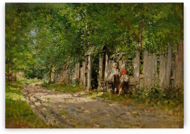 Girls working by the gate by Nicolae Grigorescu
