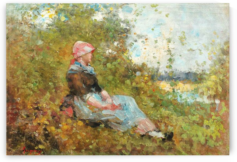 Beautiful lady standing in the garden near Brolle by Nicolae Grigorescu