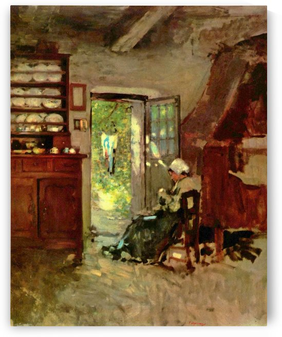Woman standing at the kitchen entrance by Nicolae Grigorescu