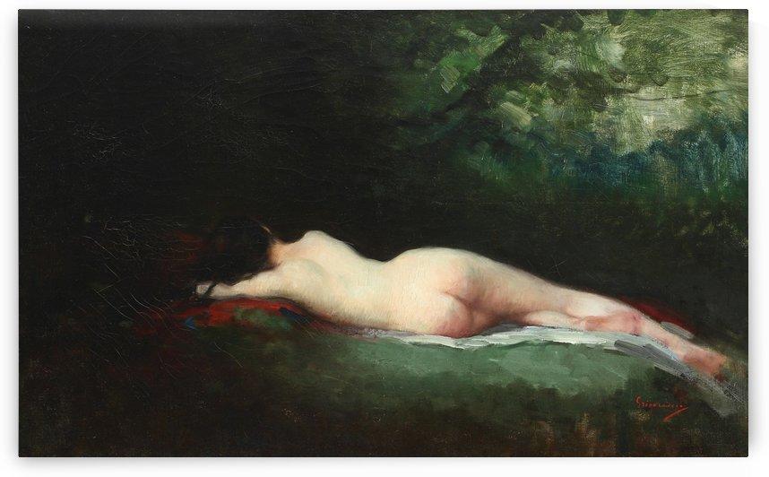Nude lady sleeping by Nicolae Grigorescu