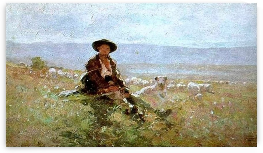 Young shepherd with sheep in the back by Nicolae Grigorescu