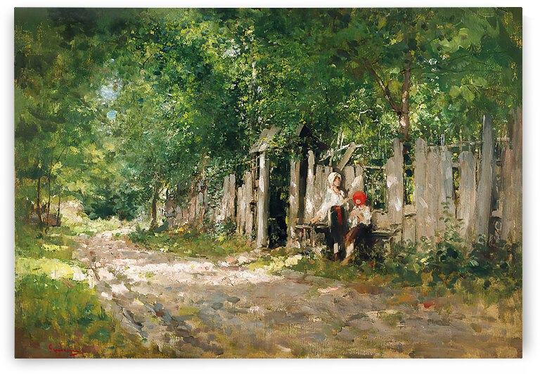 Two girls sitting along the main rod in the village by Nicolae Grigorescu