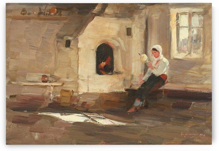 Vatra la Rucar by Nicolae Grigorescu