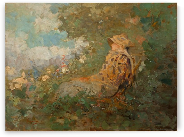 Woman sitting in the garden by Nicolae Grigorescu