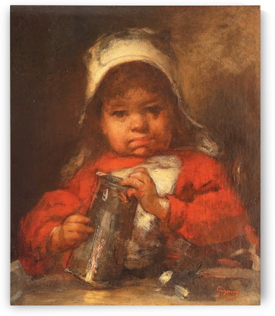 Little girl in red dress by Nicolae Grigorescu