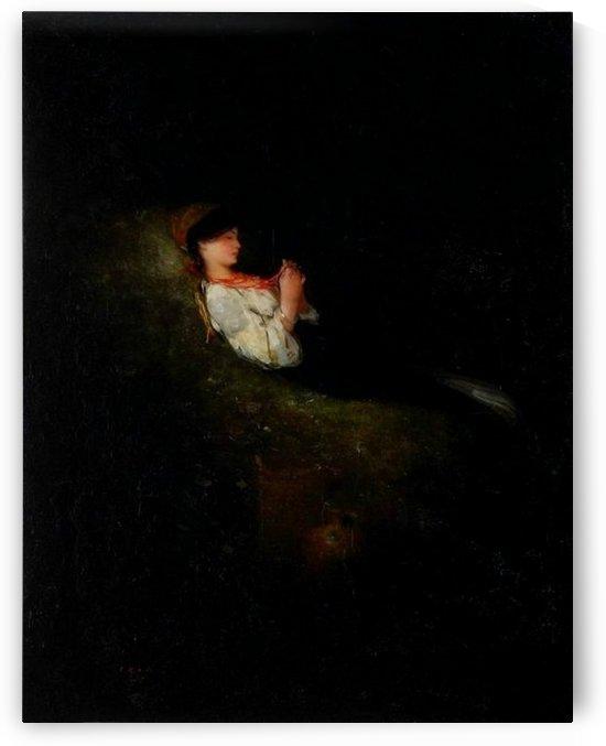 Girl resting by Nicolae Grigorescu