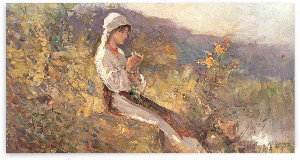 Girl sewing in the forest by Nicolae Grigorescu