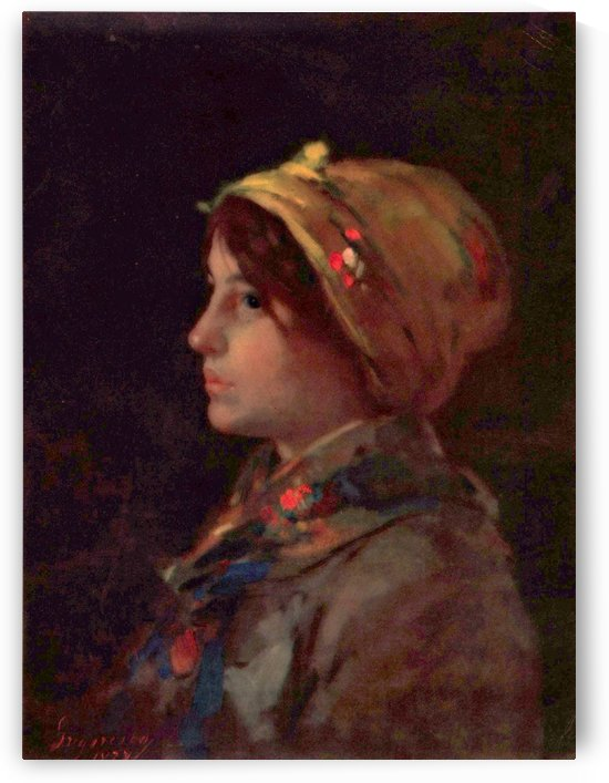 Head of a young farmer girl by Nicolae Grigorescu