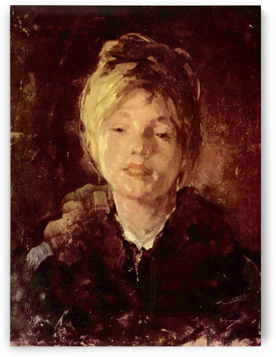 Portrait of a young girl with a beautiful look by Nicolae Grigorescu