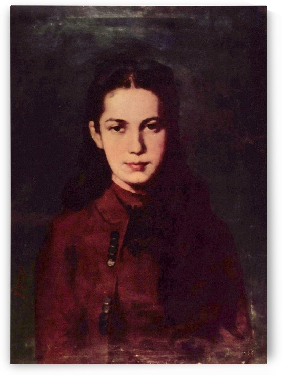 Portrait of a young girl in red dress by Nicolae Grigorescu