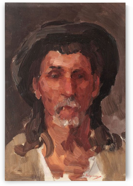 Portrait of a peasant wearing traditional hat by Nicolae Grigorescu
