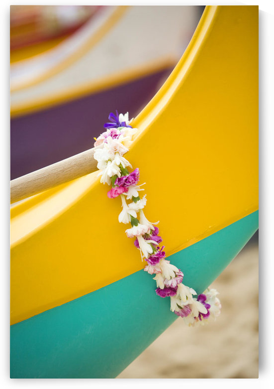 Hawaii, Oahu, Lei Draped Over Outrigger Canoe. by PacificStock