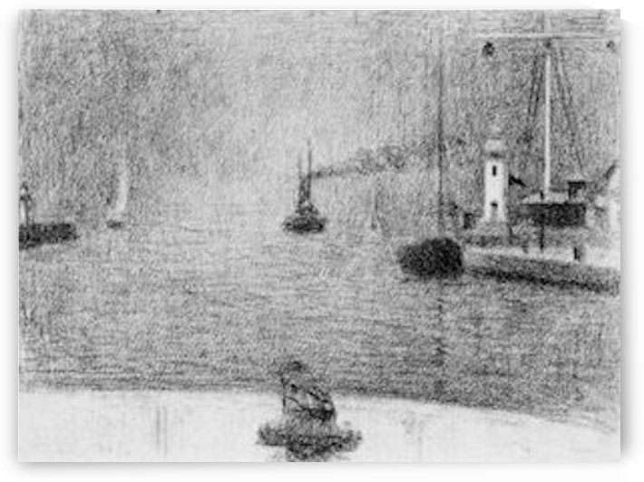 Port in Honfleur by Seurat by Seurat