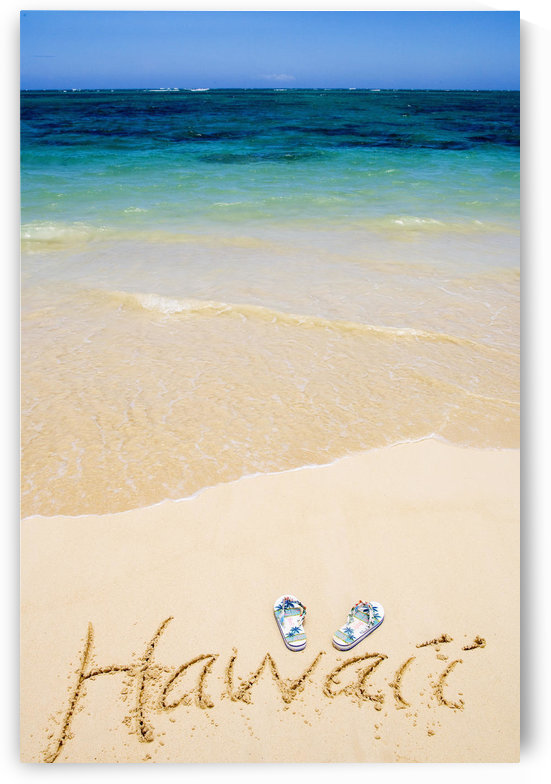 USA, Hawaii, Ocean in background; Kailua, Flipflops and Hawaii written in sand by PacificStock