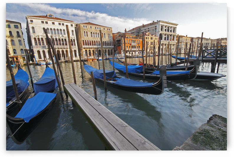 Gondolas Moored On The Grand Canal; Venice Italy by PacificStock