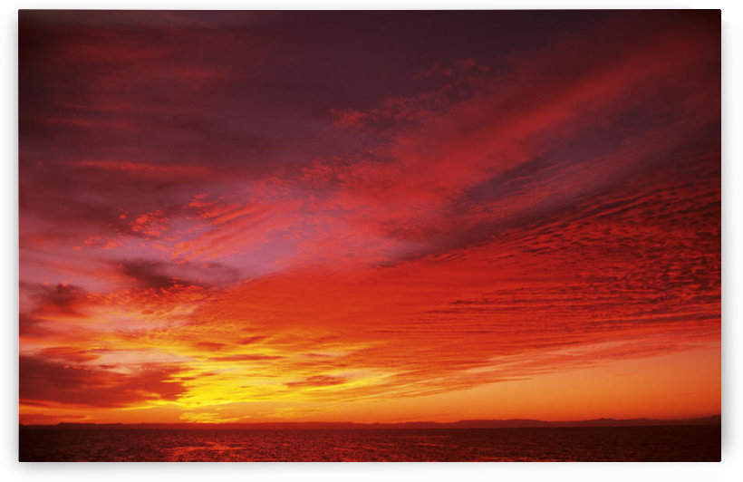 Bright Orange Sunset Over Ocean. by PacificStock