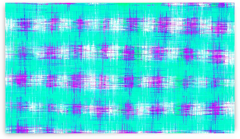 plaid pattern graffiti painting abstract in blue green and pink by TimmyLA