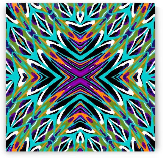 psychedelic geometric graffiti abstract pattern in green blue purple orange by TimmyLA