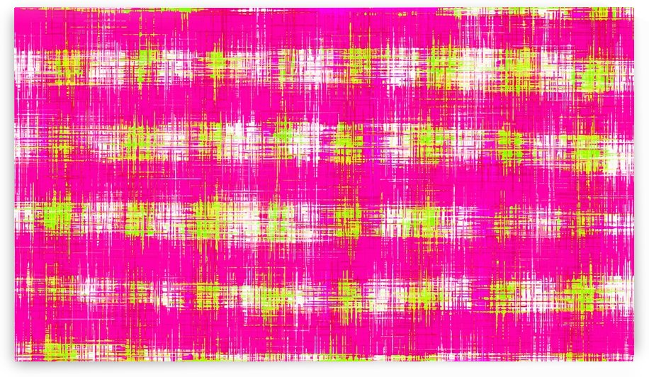 plaid pattern graffiti painting abstract in pink and yellow by TimmyLA