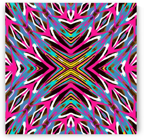 psychedelic geometric graffiti abstract pattern in pink blue yellow brown by TimmyLA
