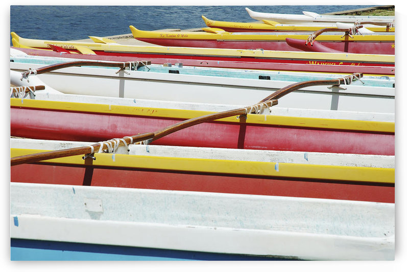 Hawaii, Oahu, Lineup Of Colorful Outrigger Canoes by PacificStock