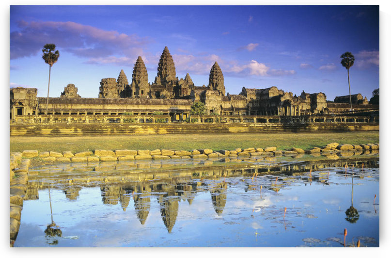 Cambodia, Siem Reap, Angkor Wat, View Of Temple From Front, Reflection In Pool by PacificStock