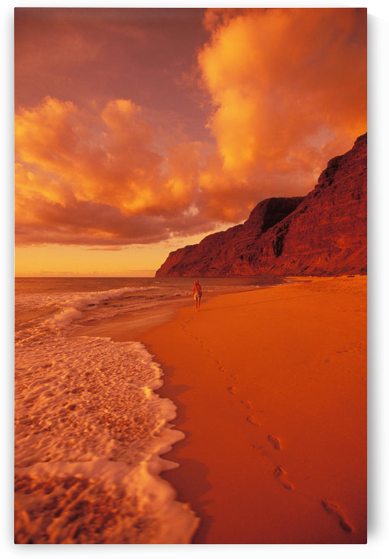 Hawaii, Kauai, Polihale State Park Beach At Sunset, Back View Of Woman Walking Along The Shoreline. by PacificStock