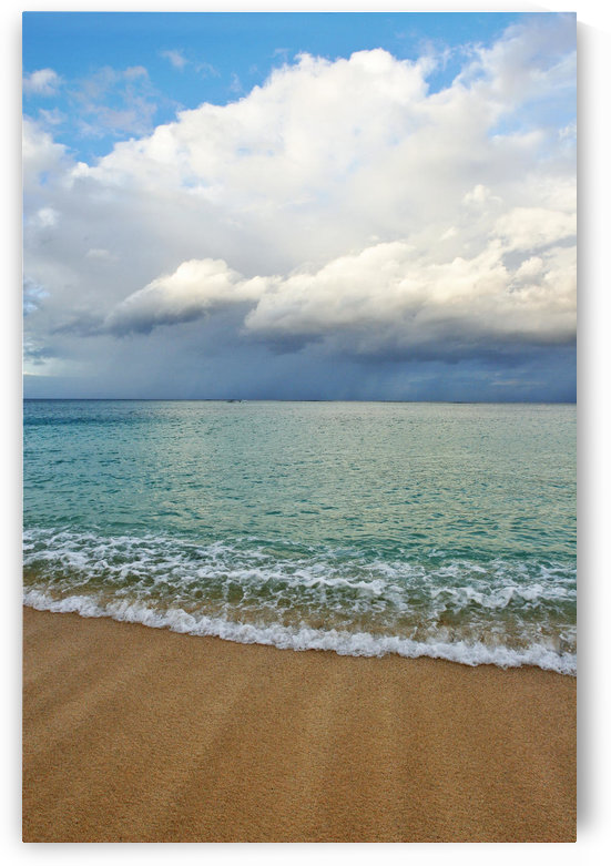 Hawaii, Oahu, Lanikai, Ocean And Clouds Over A Sandy Beach. by PacificStock