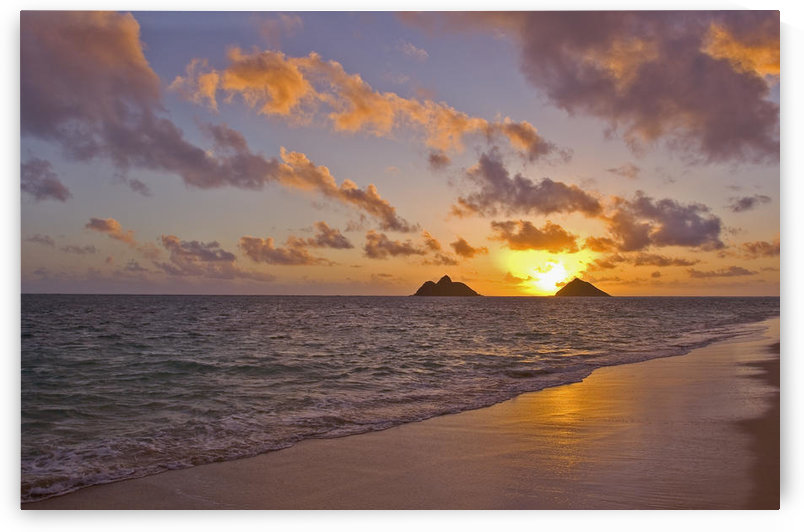 Hawaii, Oahu, Lanikai, Sunrise With The Mokulua Islands In The Distance. by PacificStock