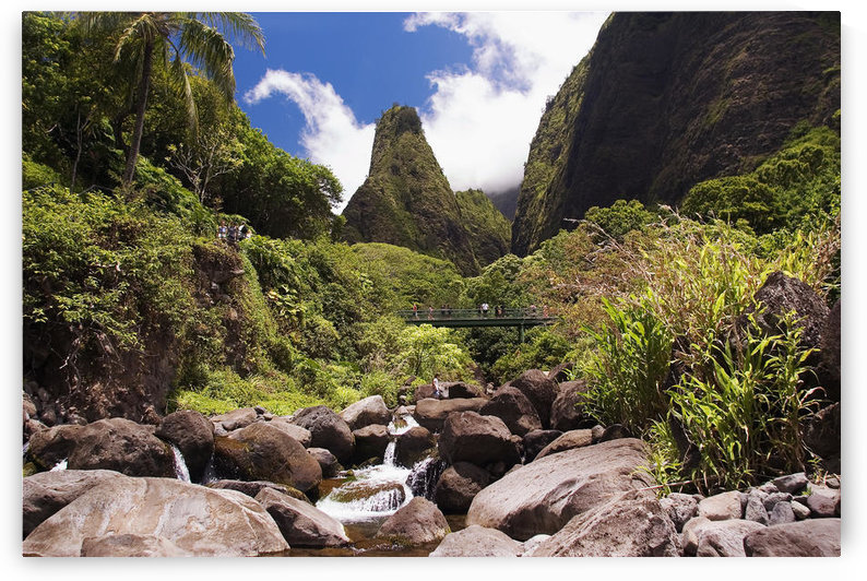 Hawaii, Maui, View Of Iao Needle With Stream, Blue Sky, Clouds by PacificStock
