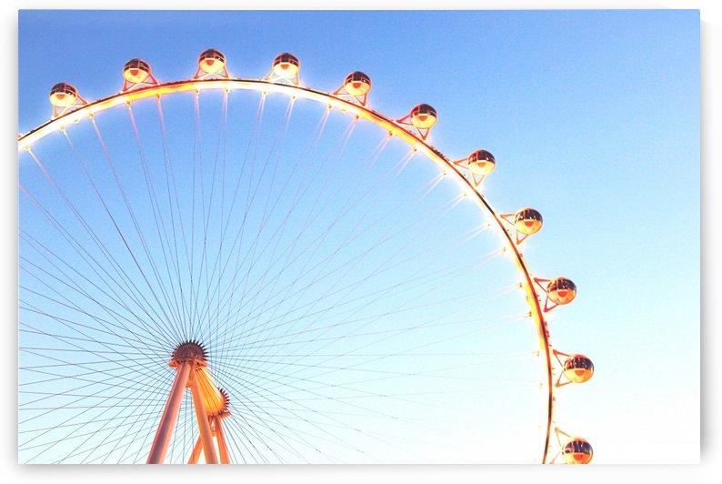 orange Ferris Wheel in the city with blue sky  by TimmyLA