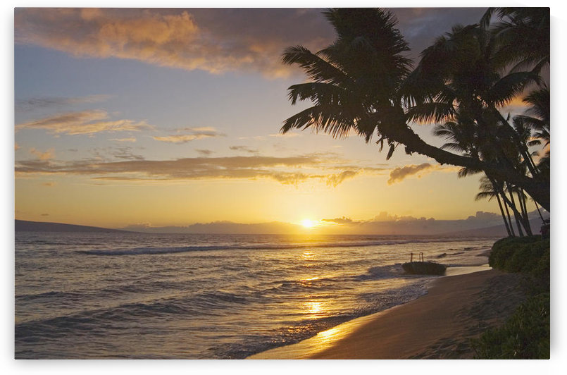 Hawaii, Maui, Kaanapali Resort, Sunset With Beach And Palm Trees. by PacificStock