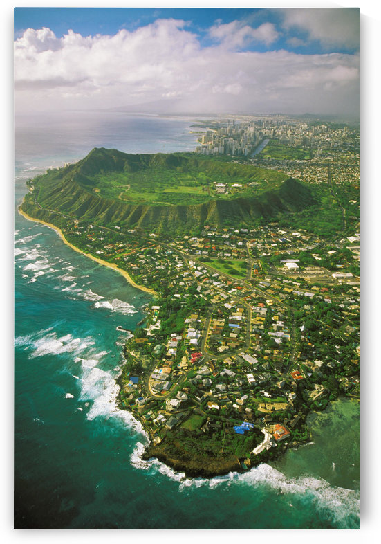 Hawaii, Oahu, Coastline Aerial Of Kahala Homes And Diamond Head Crater, Waikiki Hotels Background by PacificStock