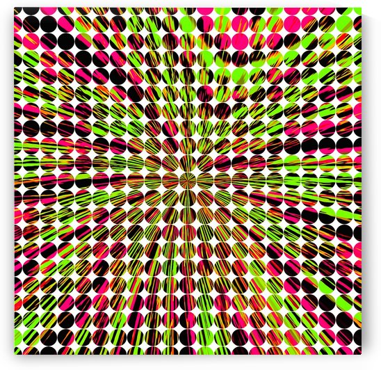 geometric circle abstract pattern in green and pink by TimmyLA