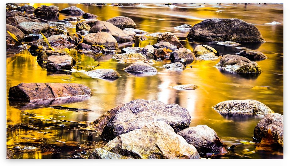 rock and stone in the river with the summer sunset light by TimmyLA