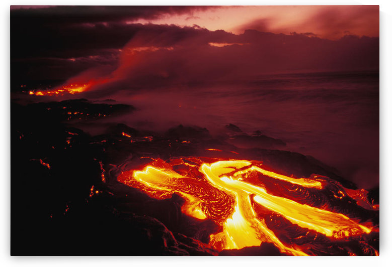 Hawaii, Big Island, Hawaii Volcanoes National Park, Lava Flow Glows In Early Dawn by PacificStock