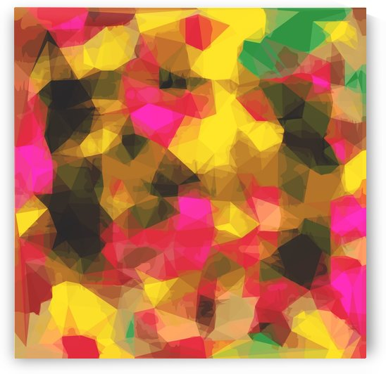 psychedelic geometric polygon shape pattern abstract in pink yellow green by TimmyLA
