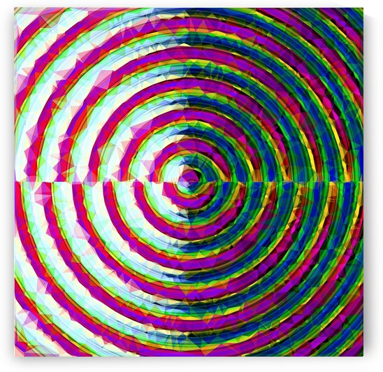 psychedelic geometric polygon pattern in circle shape with pink blue green by TimmyLA