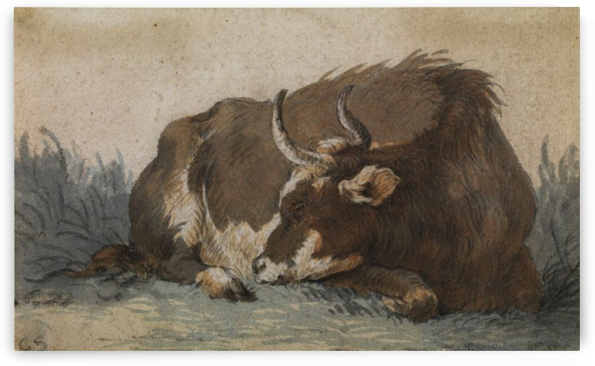 Lying cow by Cornelis Saftleven