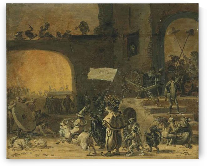 A hoard of creatures with the Seven Deadly Sins, before a tavern by Cornelis Saftleven