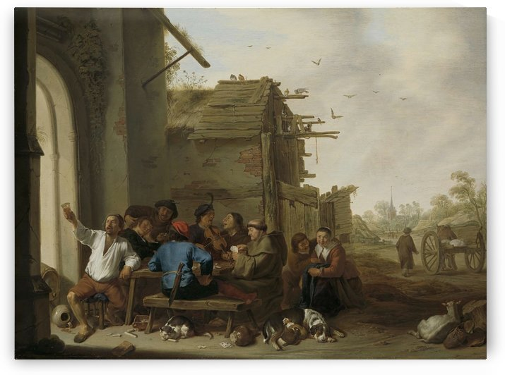 Figures before a village inn, 1642 by Cornelis Saftleven