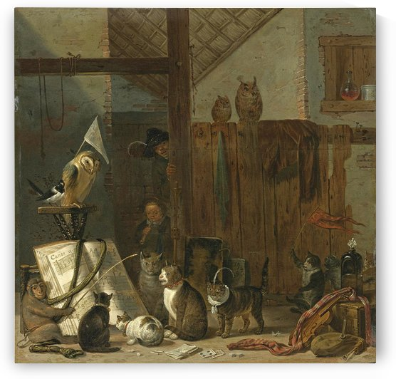 A concert of cats owls a magpie and a monkey in a barn by Cornelis Saftleven